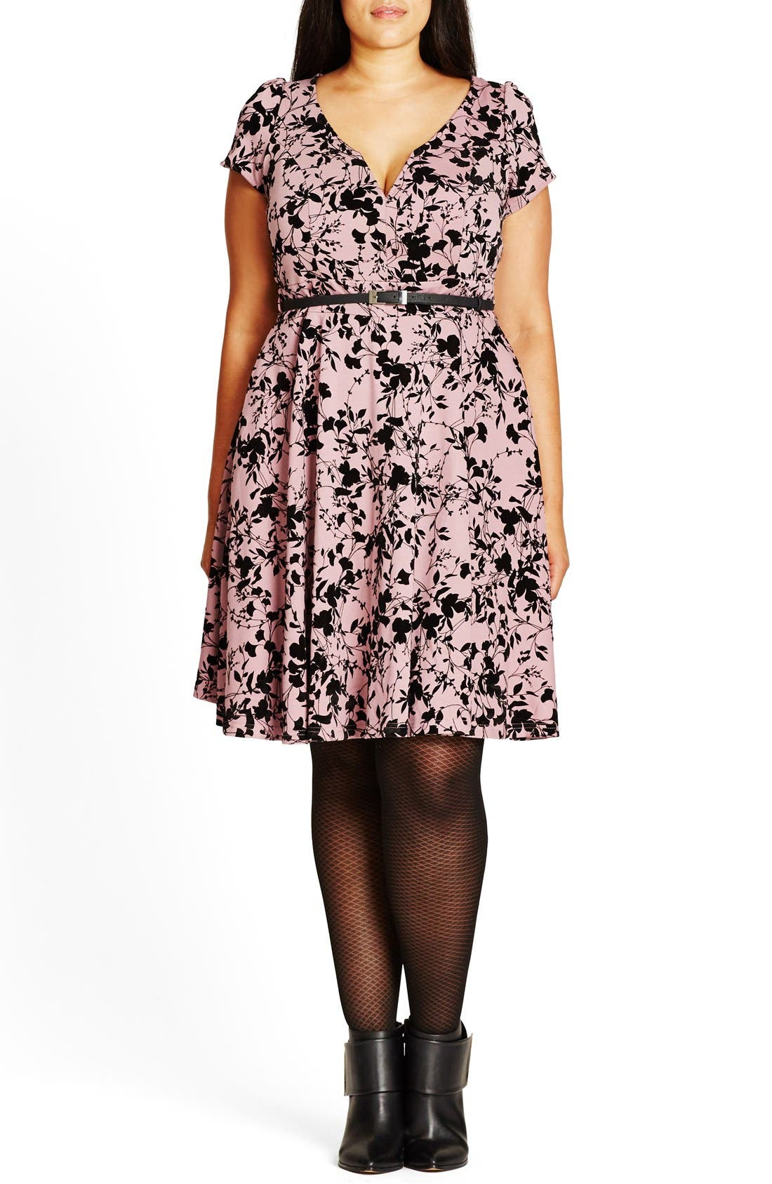 Main Image - City Chic Rose Beauty Belted Fit & Flare Dress (Plus Size)