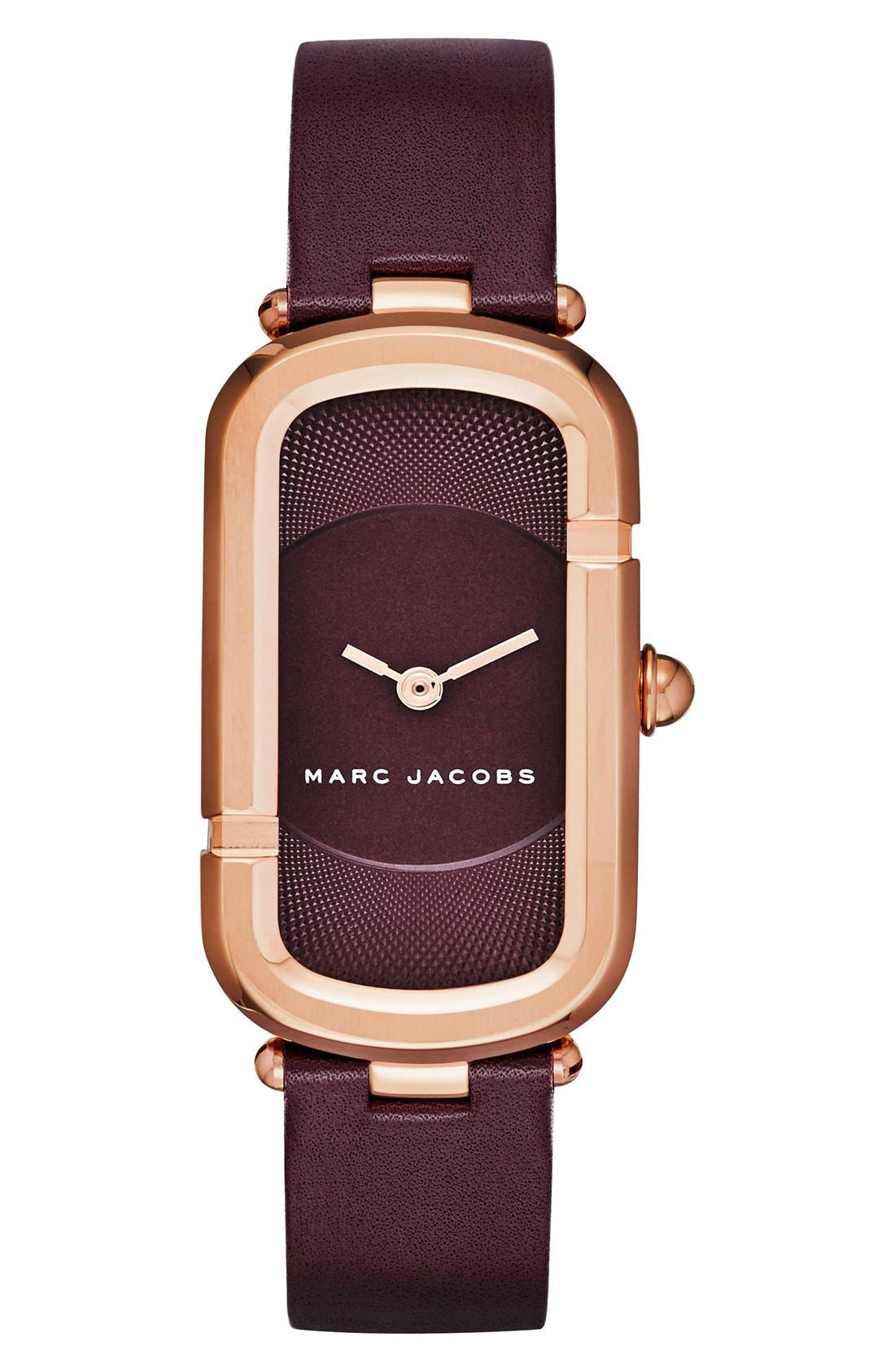 MARC JACOBS 'The Jacobs' Leather Strap Watch, 24mm x 39mm