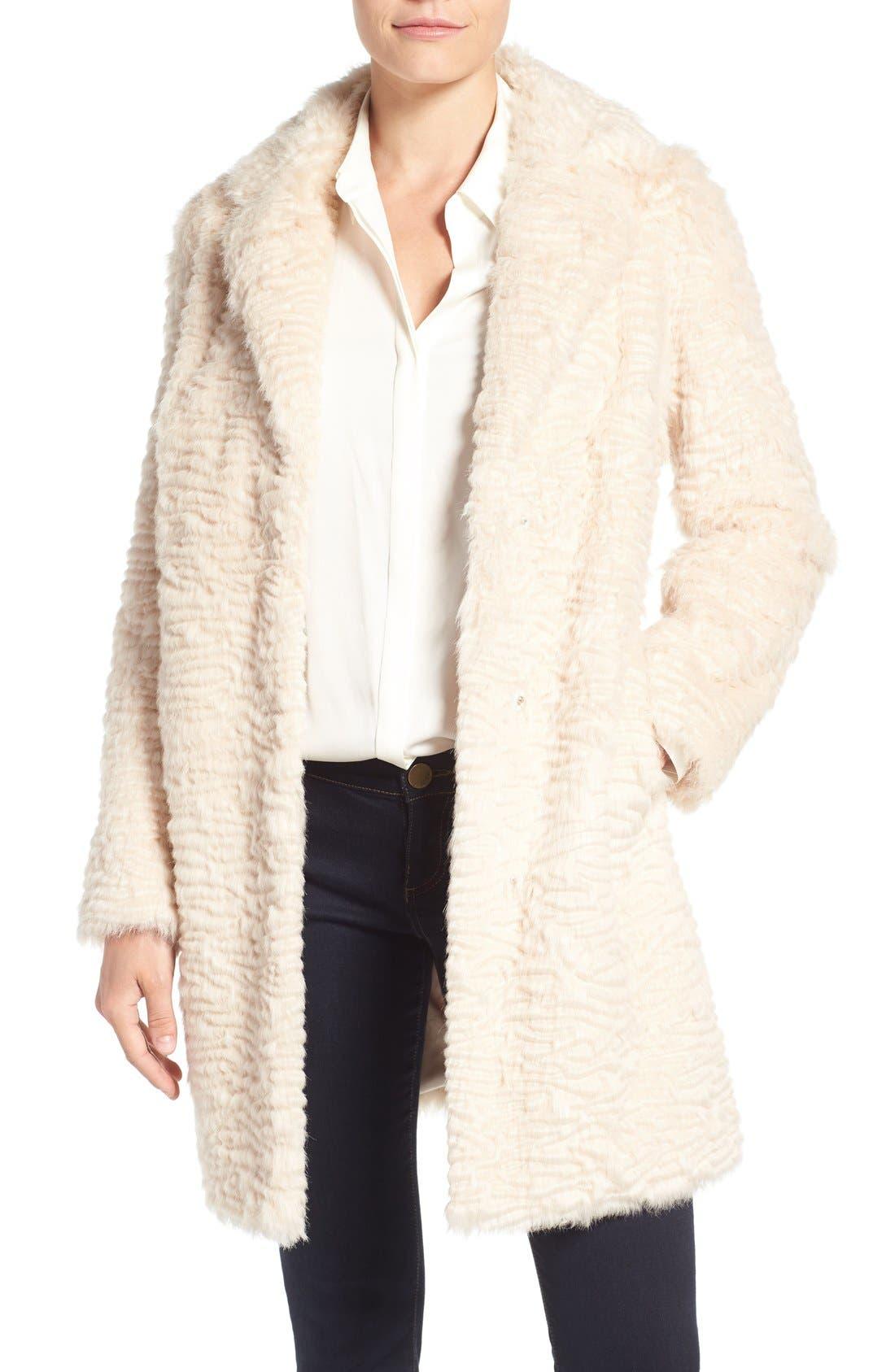 Main Image - Eliza J Faux Persian Lamb Coat (Regular & Petite)