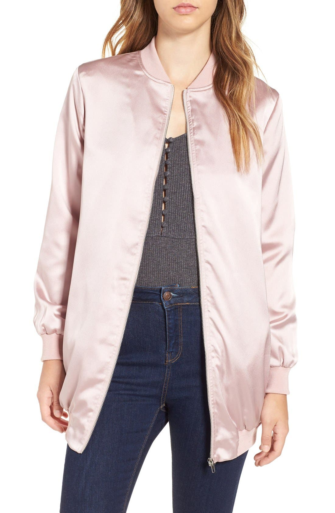 Alternate Image 1 Selected - Missguided Satin Longline Bomber Jacket