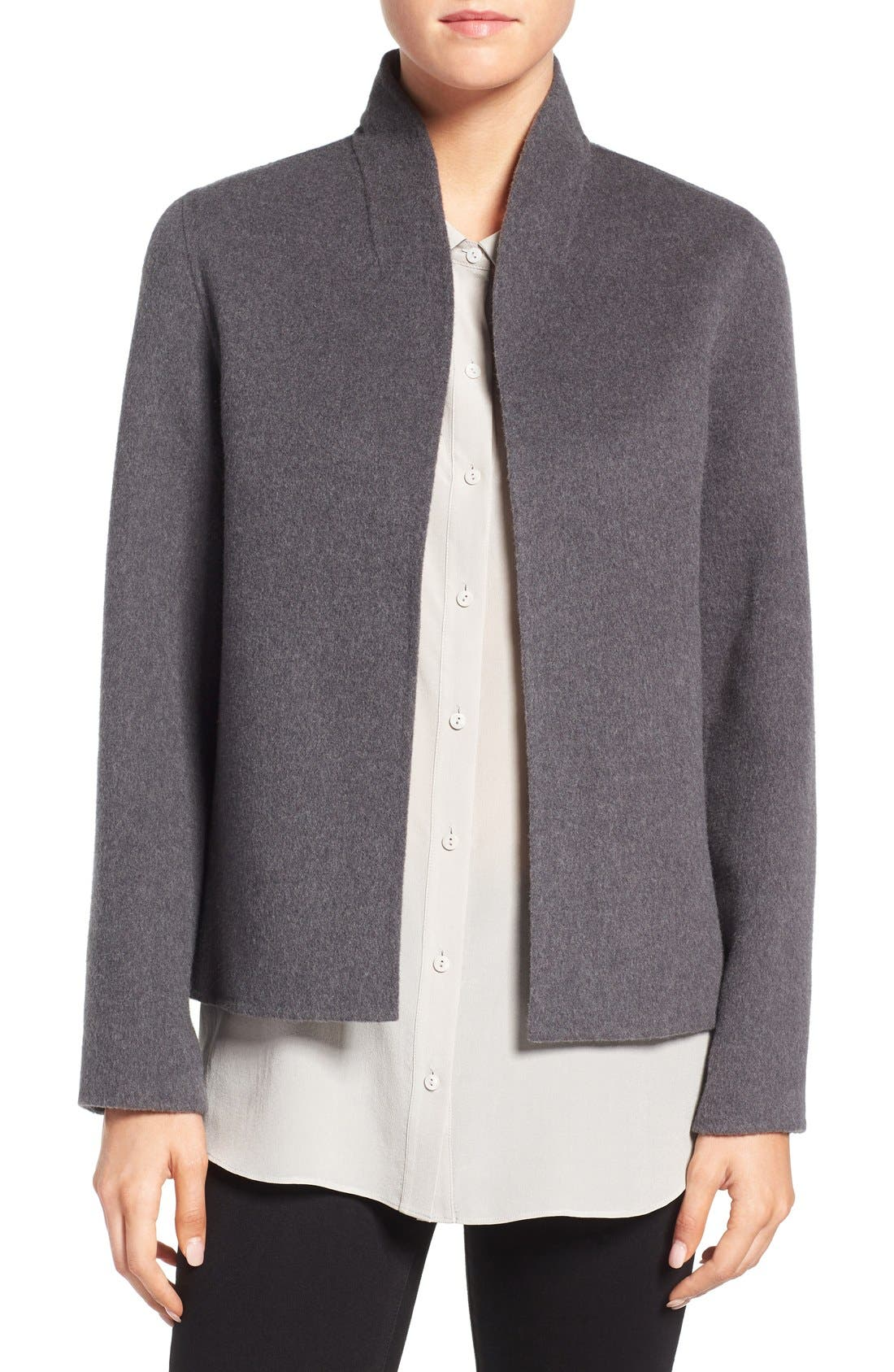 Alternate Image 1 Selected - Eileen Fisher Brushed Wool Blend Double Face High Collar Coat