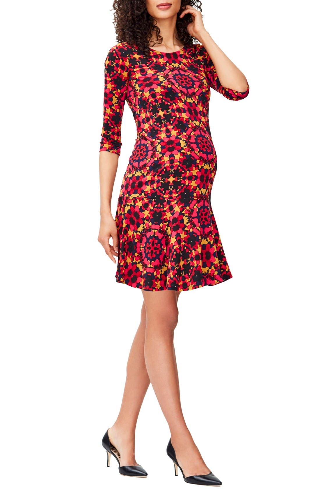 LEOTA 'Kelsey' Print Drop Waist Maternity Dress