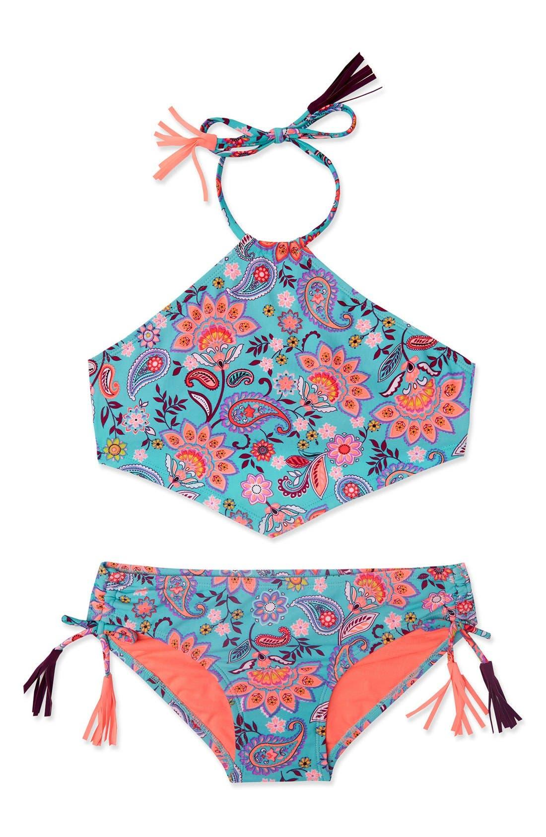 Gossip Girl 'Le Corsaire' Print Two-Piece Swimsuit (Big Girls)