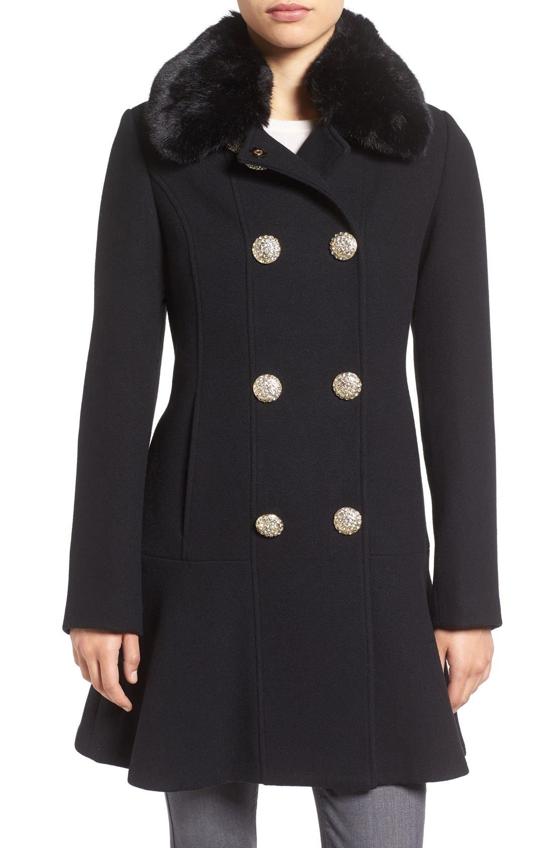 Main Image - kate spade new york double breasted twill coat with faux fur collar