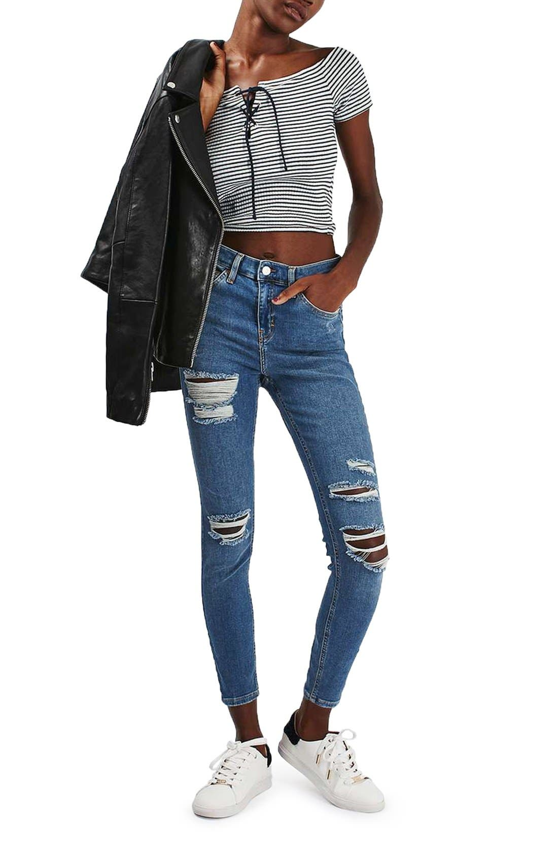 Alternate Image 2  - Topshop 'Jamie' Ripped High Rise Ankle Skinny Jeans (Petite)