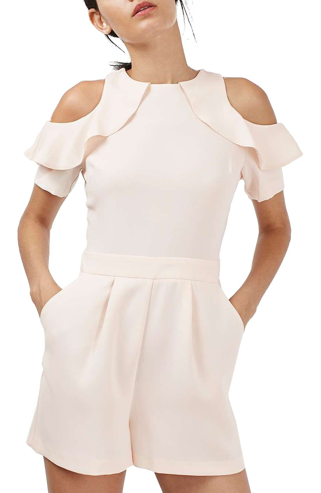 Alternate Image 1 Selected - Topshop Ruffle Cold Shoulder Romper