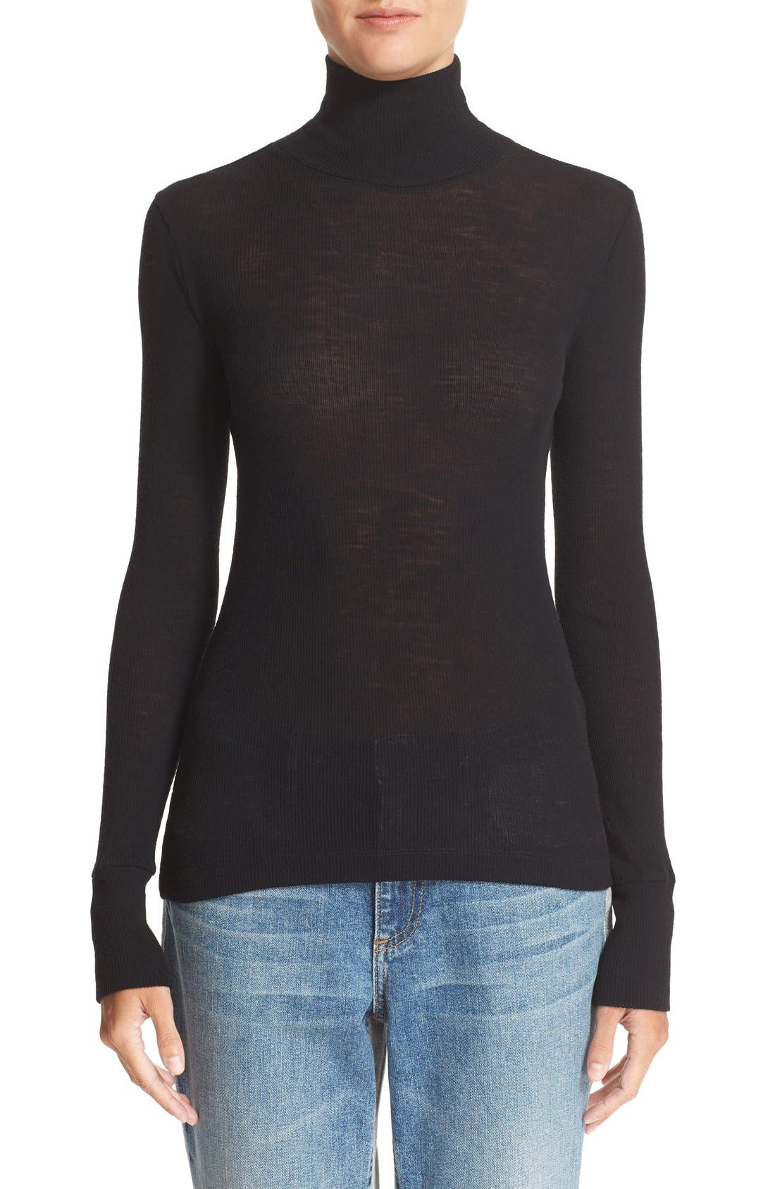 T BY ALEXANDER WANG Sheer Wool Turtleneck