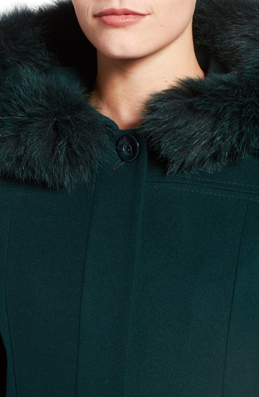 Alternate Image 4  - Sachi Wool Blend Coat with Genuine Fox Fur Trim (Regular & Petite)
