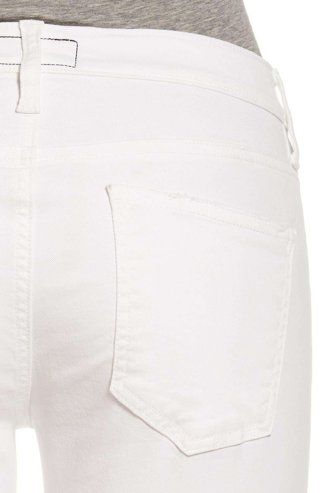 Alternate Image 4  - Current/Elliott 'The Zip Moto' Ankle Skinny Jeans (Dirty White Noise)