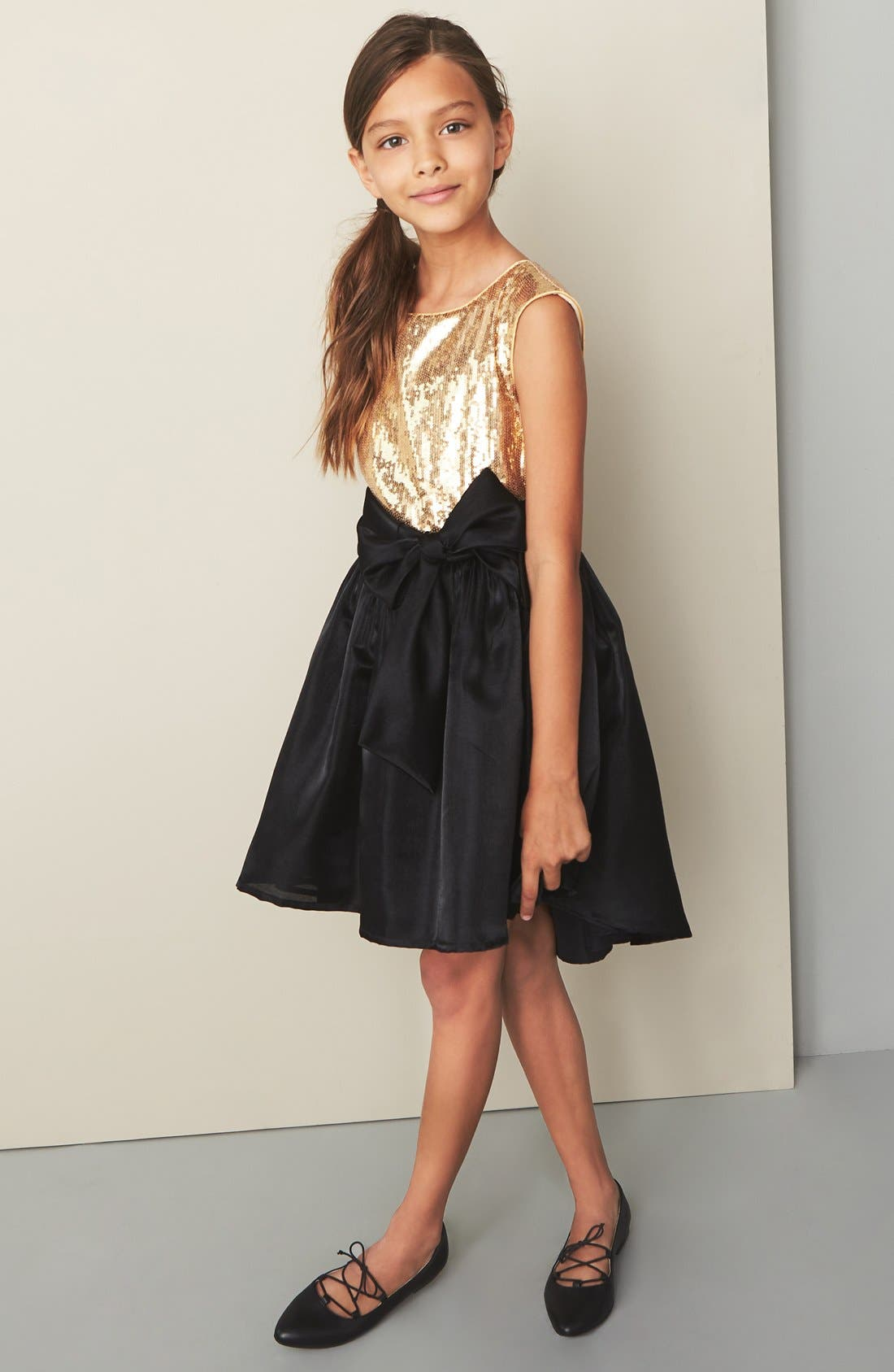 Alternate Image 2  - Pippa & Julie Sequin High/Low Hem Dress (Big Girls)
