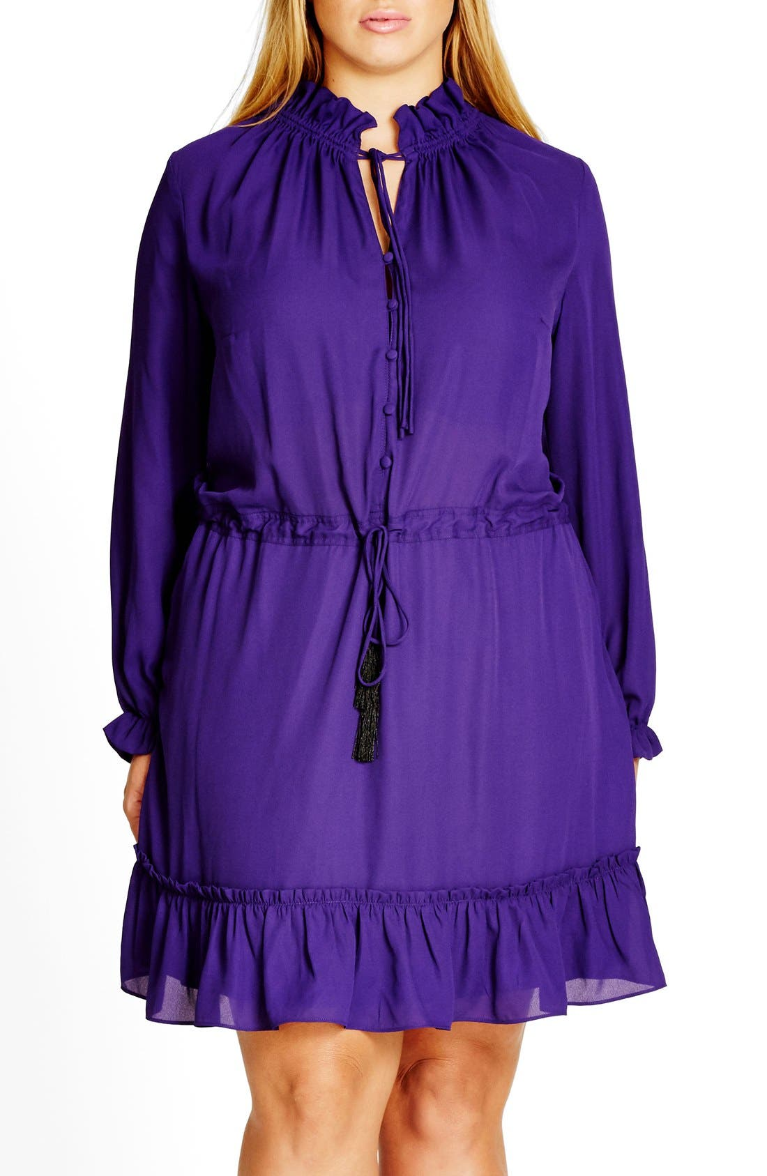 CITY CHIC 'Miss Stevie' Ruffle Drawstring Tunic