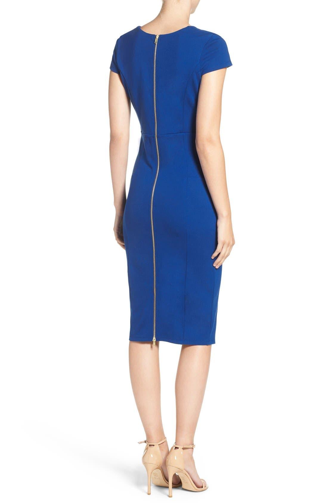 Alternate Image 2  - Felicity & Coco V-Neck Ponte Knit Midi Sheath Dress (Regular & Petite) (Nordstrom Exclusive)