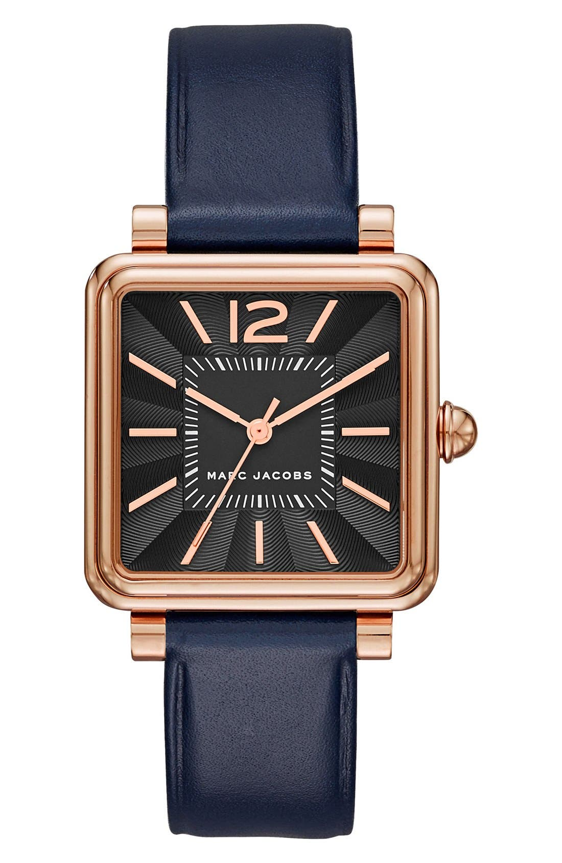 Alternate Image 1 Selected - MARC JACOBS 'Vic' Leather Strap Watch, 30mm