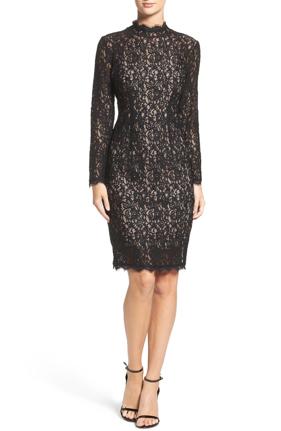 Alternate Image 4  - Adrianna Papell Corded Lace Sheath Dress (Regular & Petite)