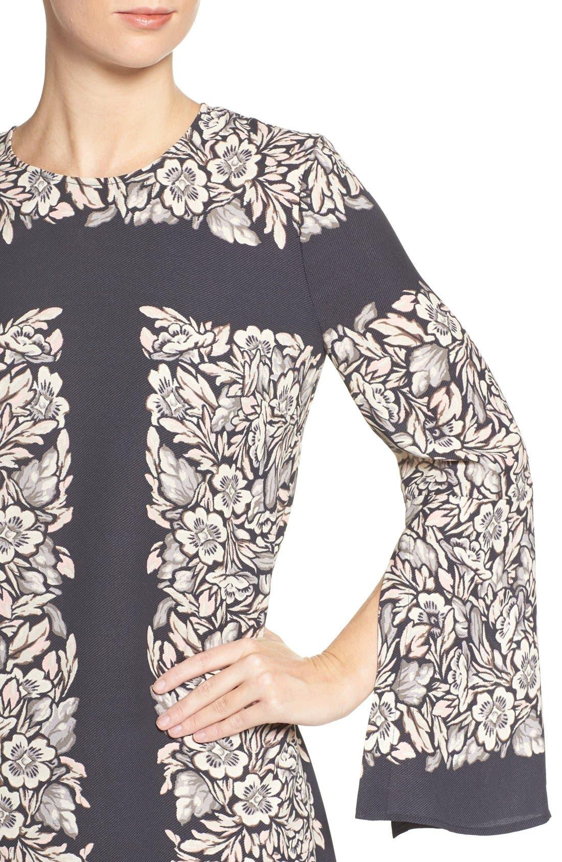 Alternate Image 5  - BCBGMAXAZRIA 'Dulchey' Floral Crepe Trapeze Dress