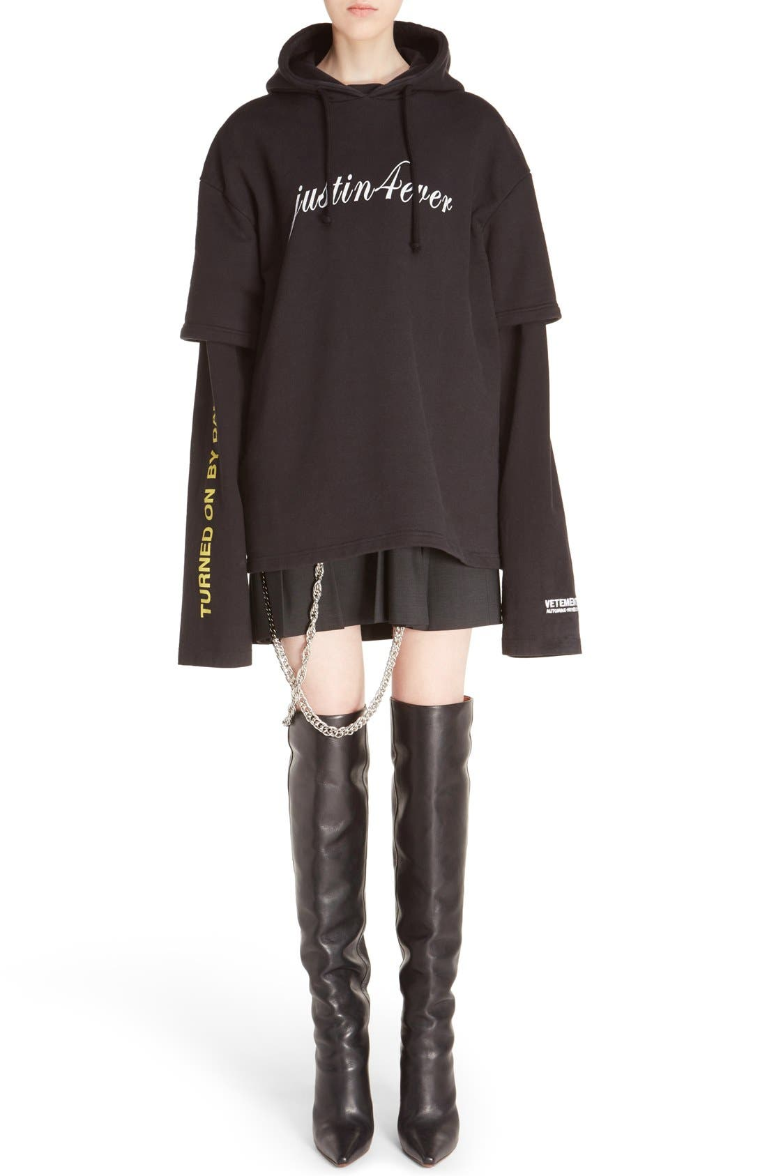 Alternate Image 7  - Vetements 'Justin4Ever' Double Sleeve Graphic Hoodie Dress