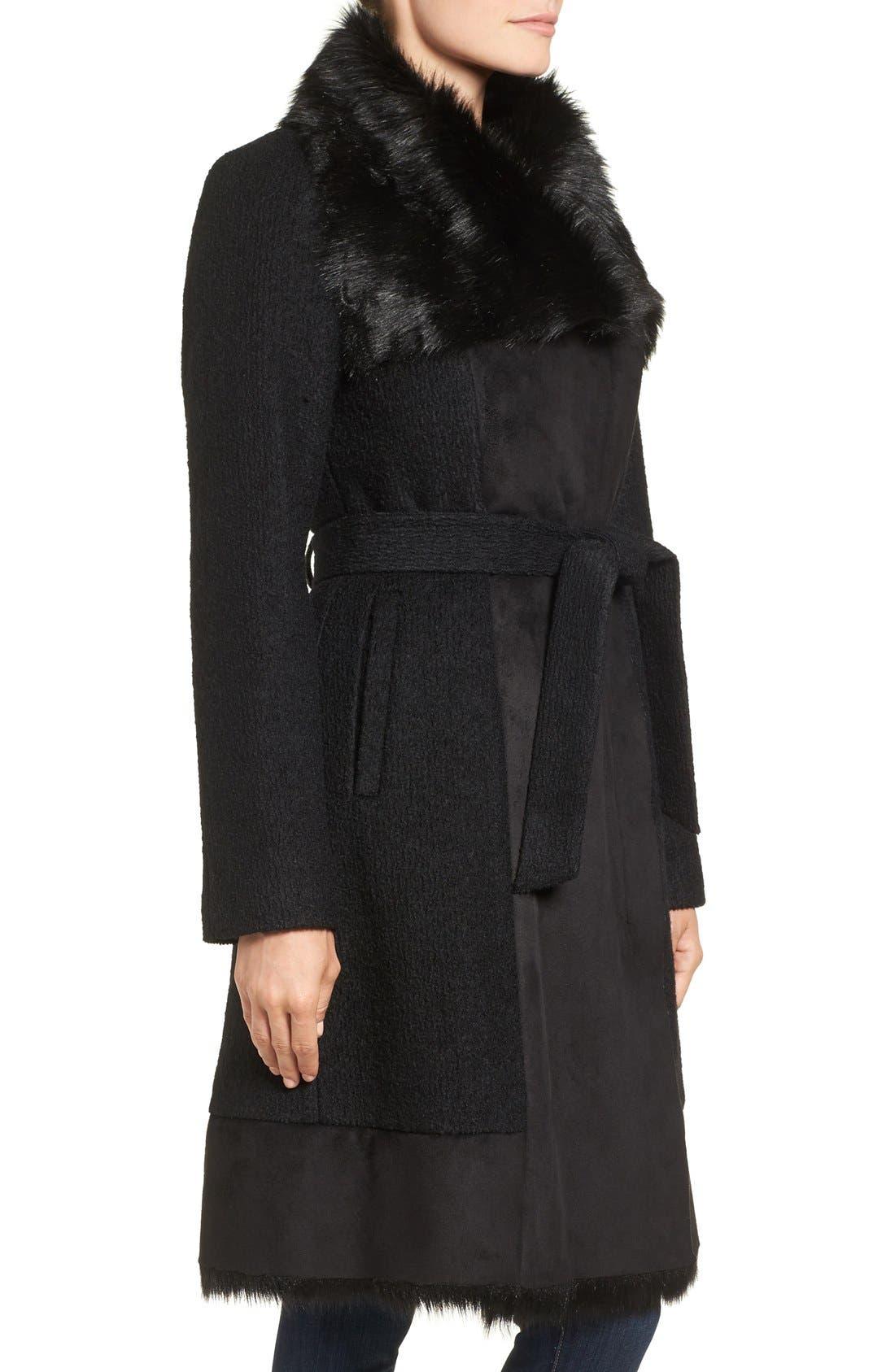 Alternate Image 3  - Vince Camuto Faux Shearling Trim Belted Wool Blend Long Coat