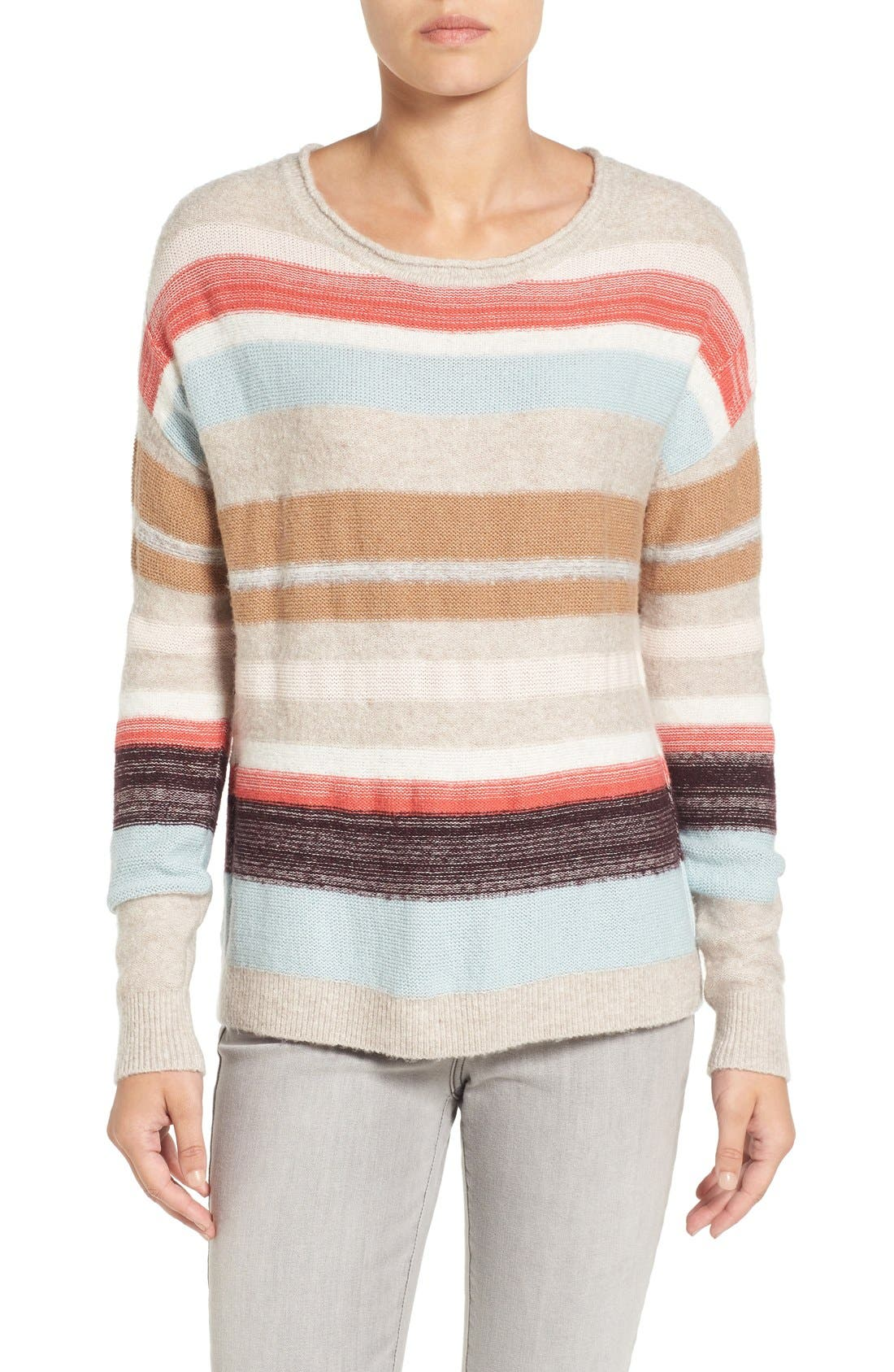 Main Image - Caslon® Back Button Stripe Knit Sweater (Regular & Petite)
