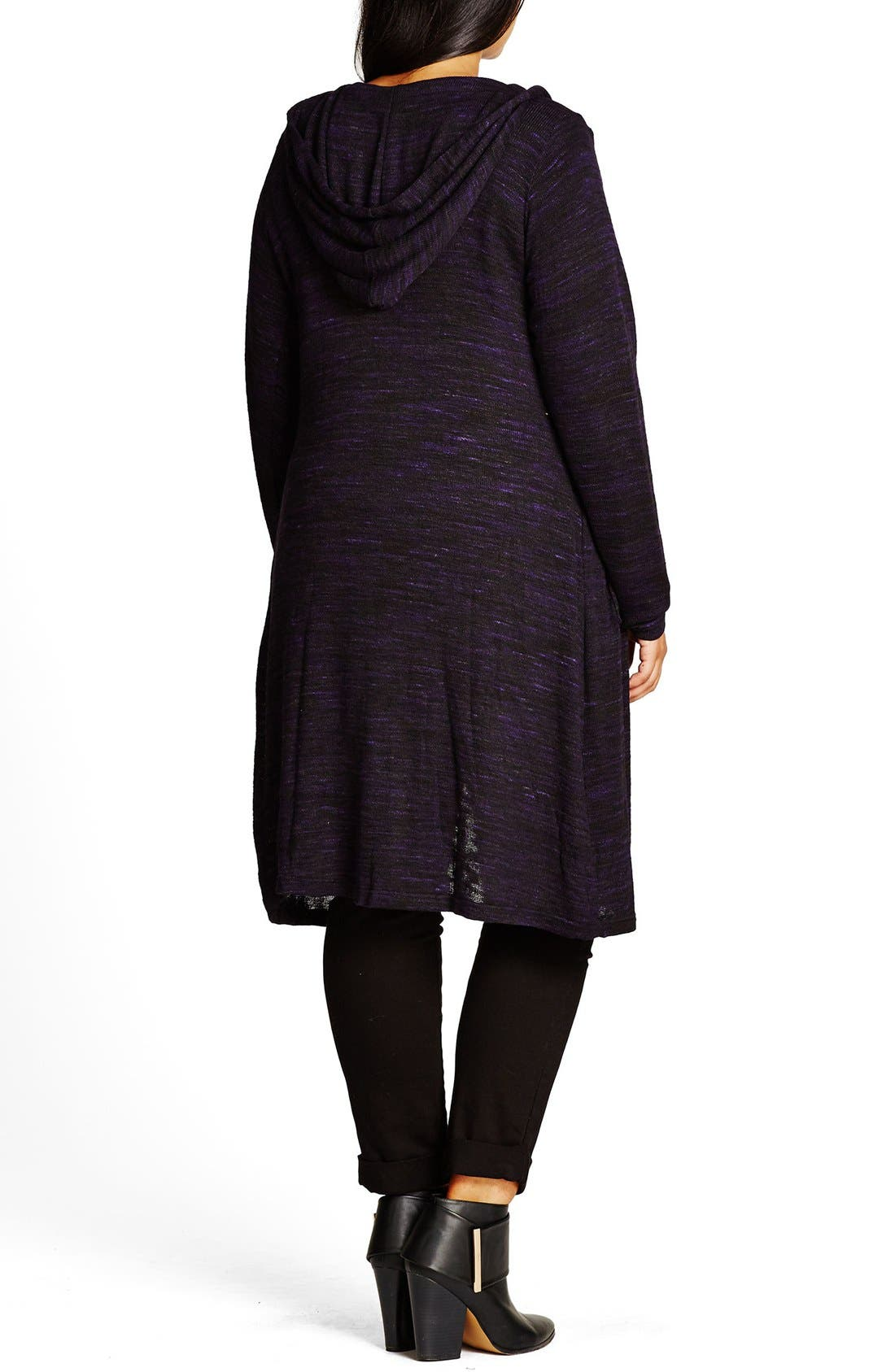 Alternate Image 2  - City Chic Space Dye Hooded Cardigan (Plus Size)