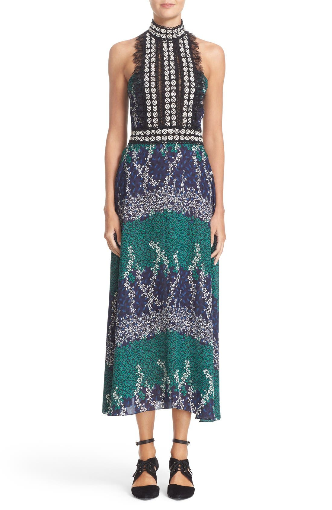 Alternate Image 1 Selected - Yigal Azrouël Lace Trim Ivy & Paisley Print Maxi Dress