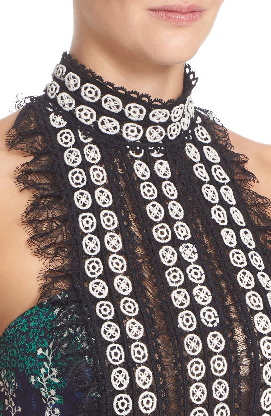 Alternate Image 6  - Yigal Azrouël Lace Trim Ivy & Paisley Print Maxi Dress