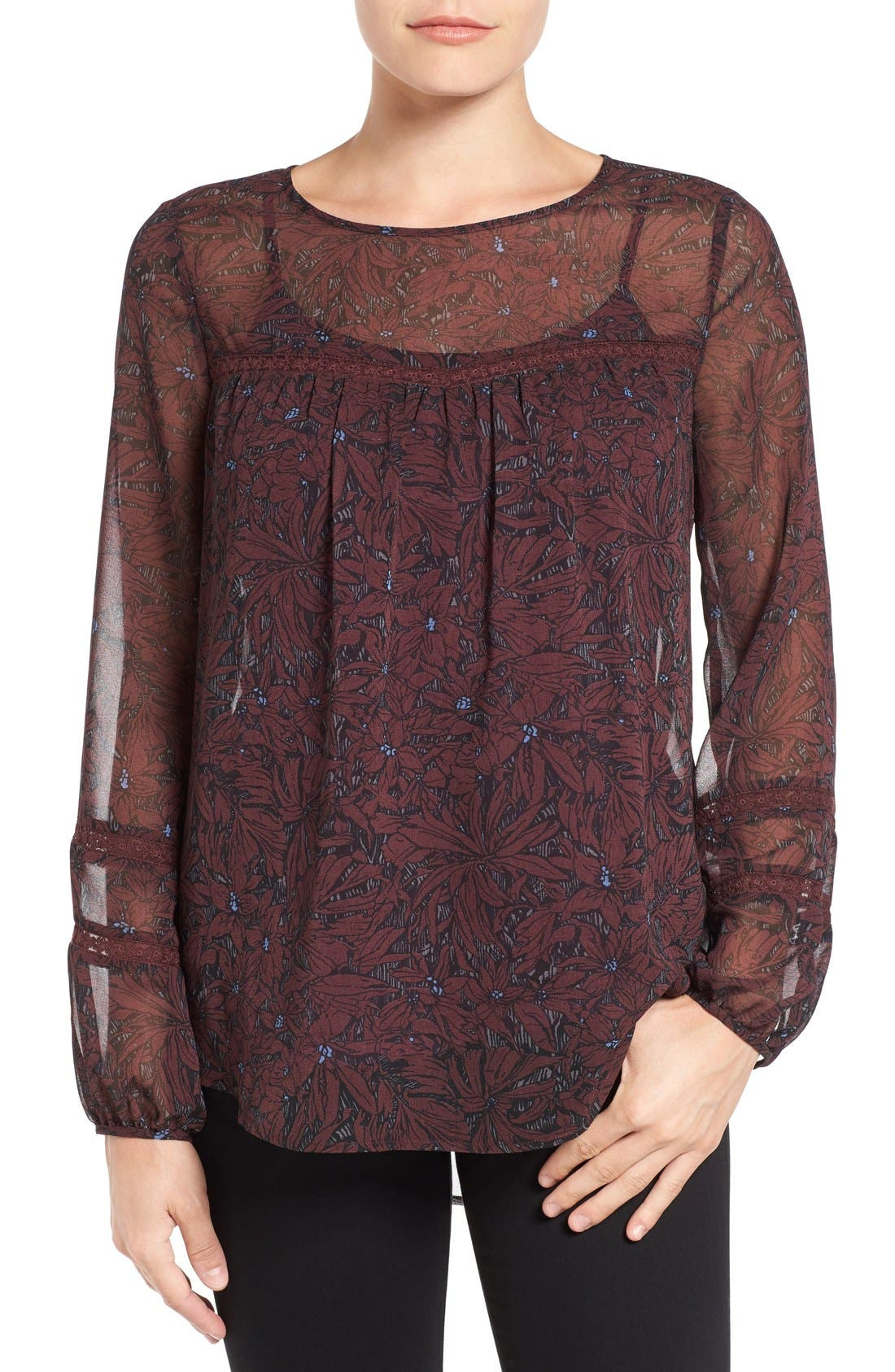 Main Image - Pleione Sheer Print Peasant Blouse