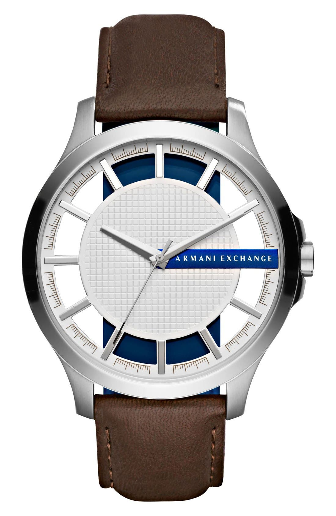 AX Armani Exchange Leather Strap Watch, 46mm
