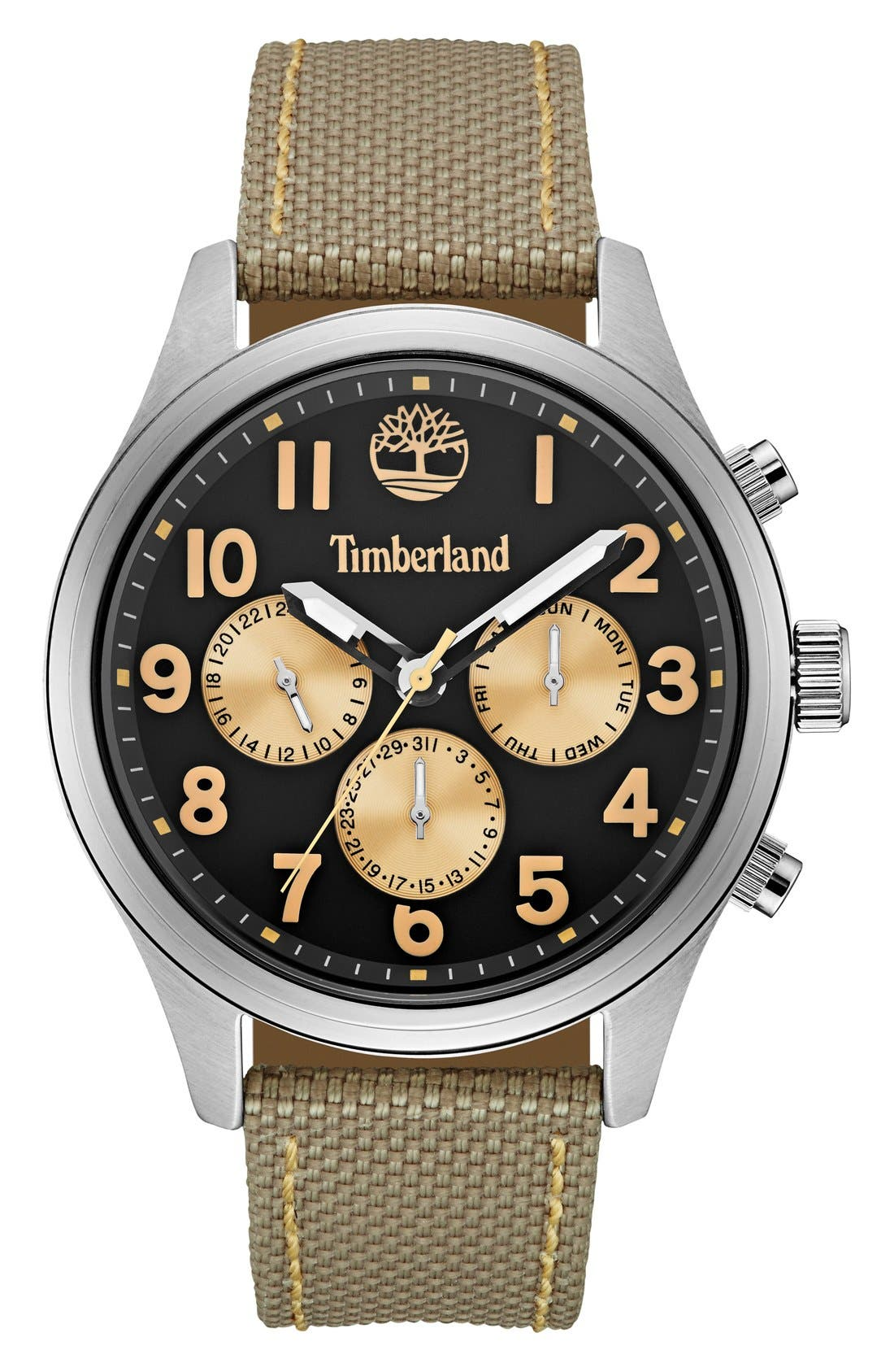 Timberland 'Rollins' Multifunction Nylon Strap Watch, 54mm
