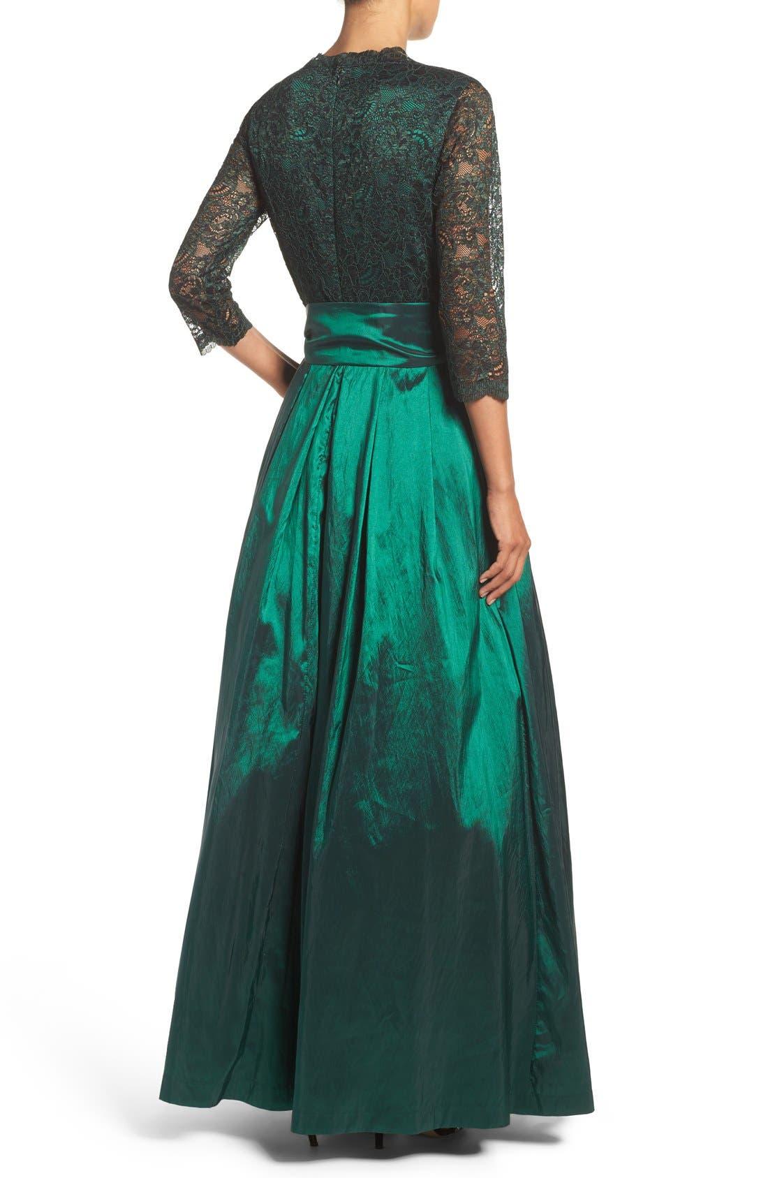 Alternate Image 2  - Eliza J Lace & Taffeta Gown