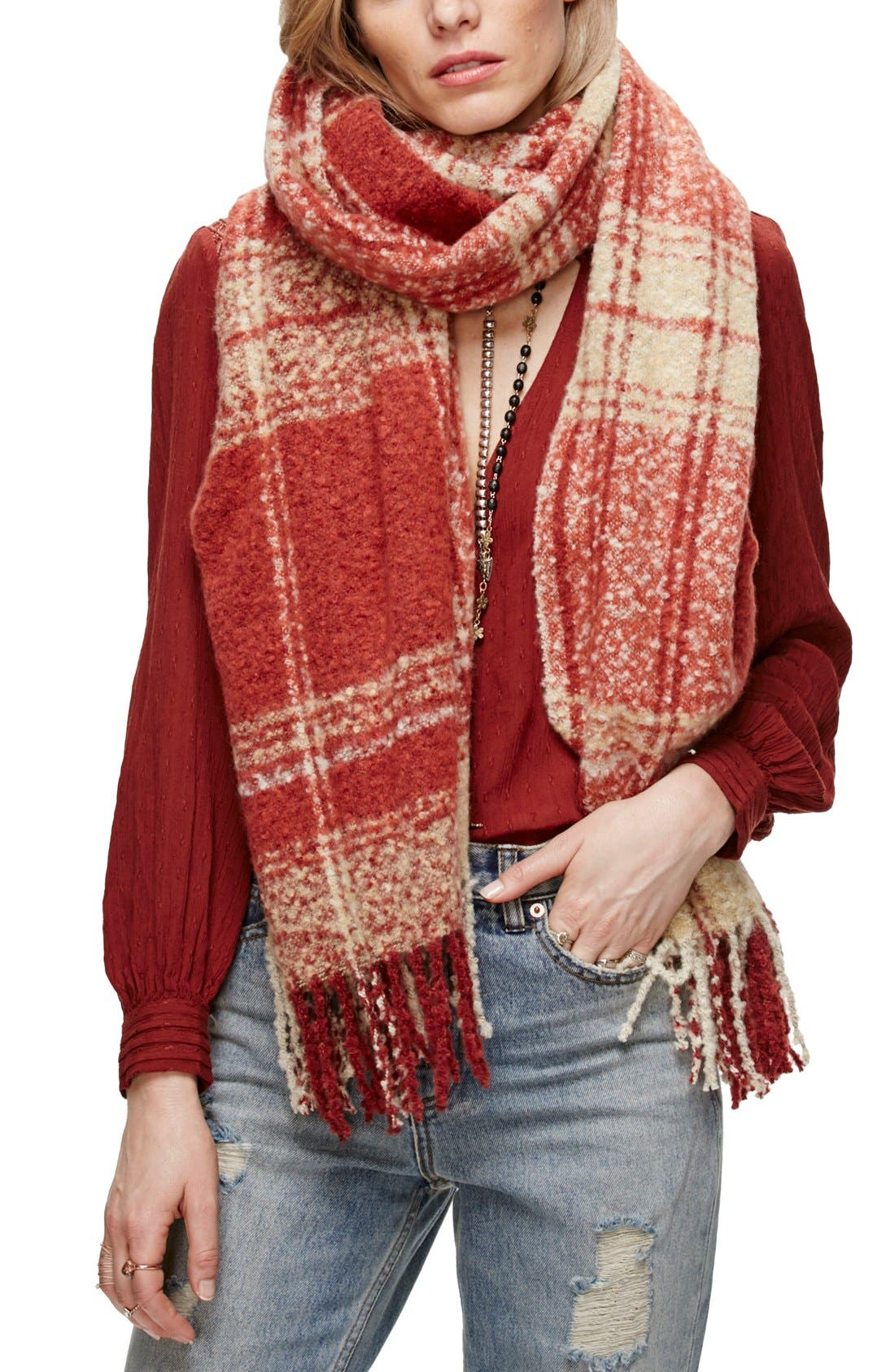 Alternate Image 1 Selected - Free People Loveland Plaid Fringe Scarf