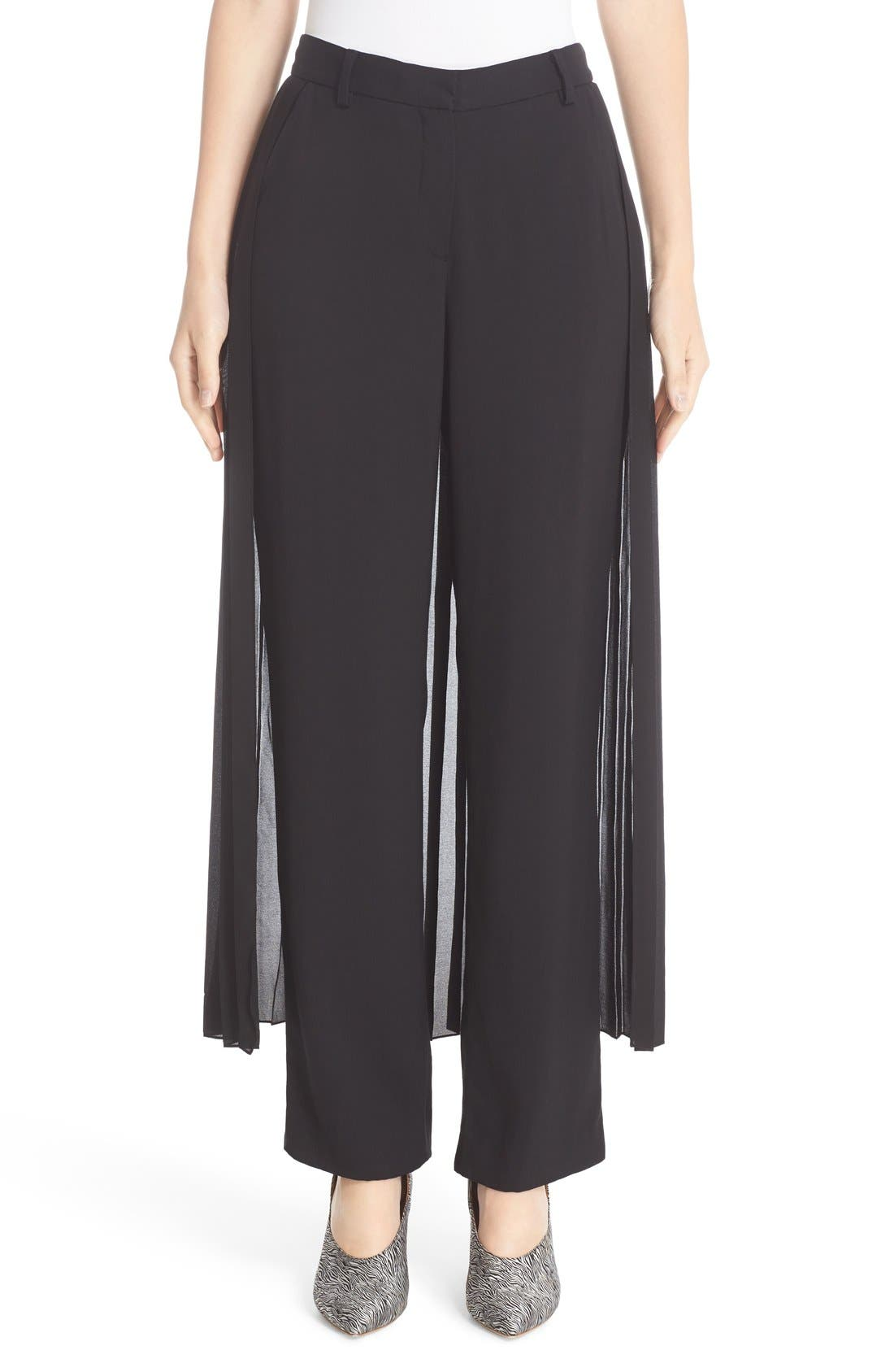 ADAM LIPPES Satin Crepe Tux Pants with Pleated