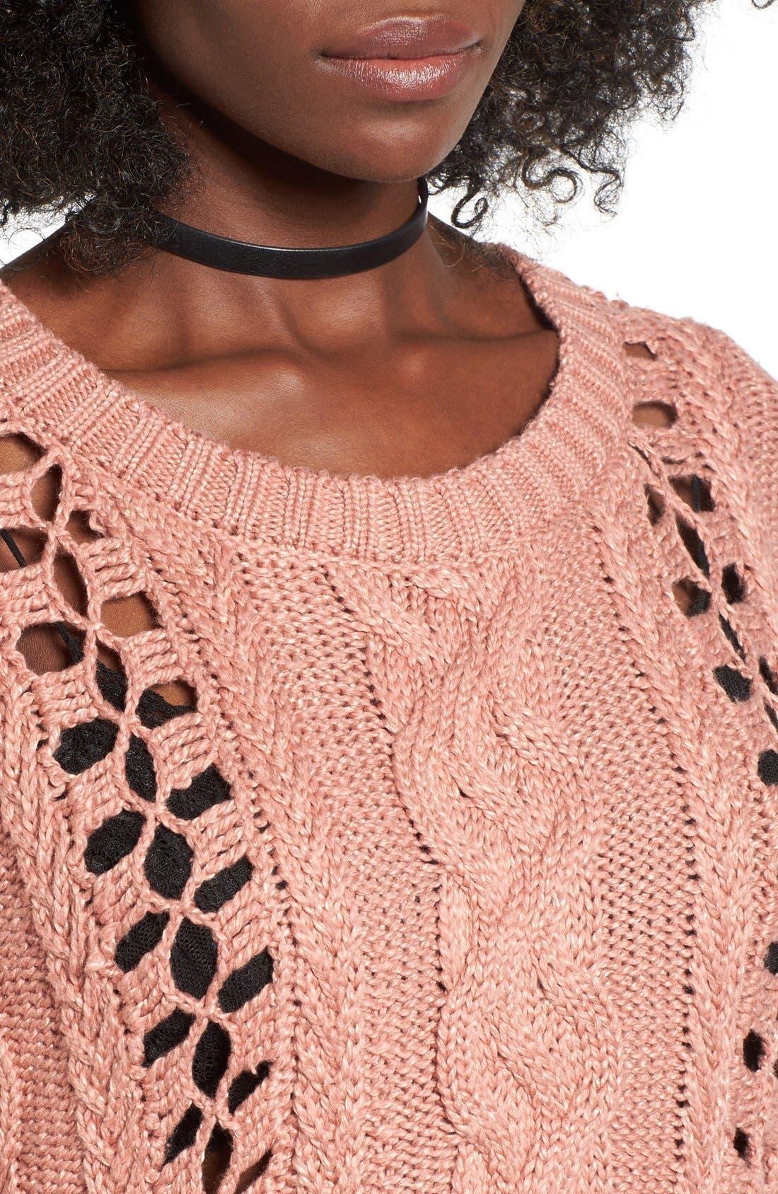 Alternate Image 4  - For Love & Lemons Wythe Openwork Bell Sleeve Sweater