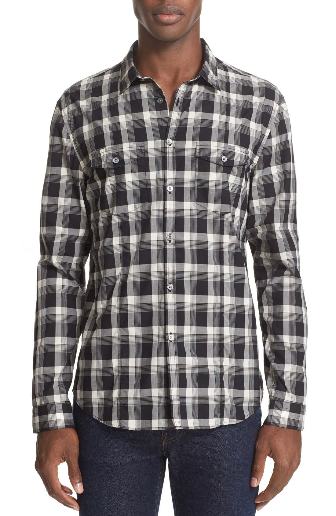 JOHN VARVATOS COLLECTION Slim Fit Plaid Military Shirt