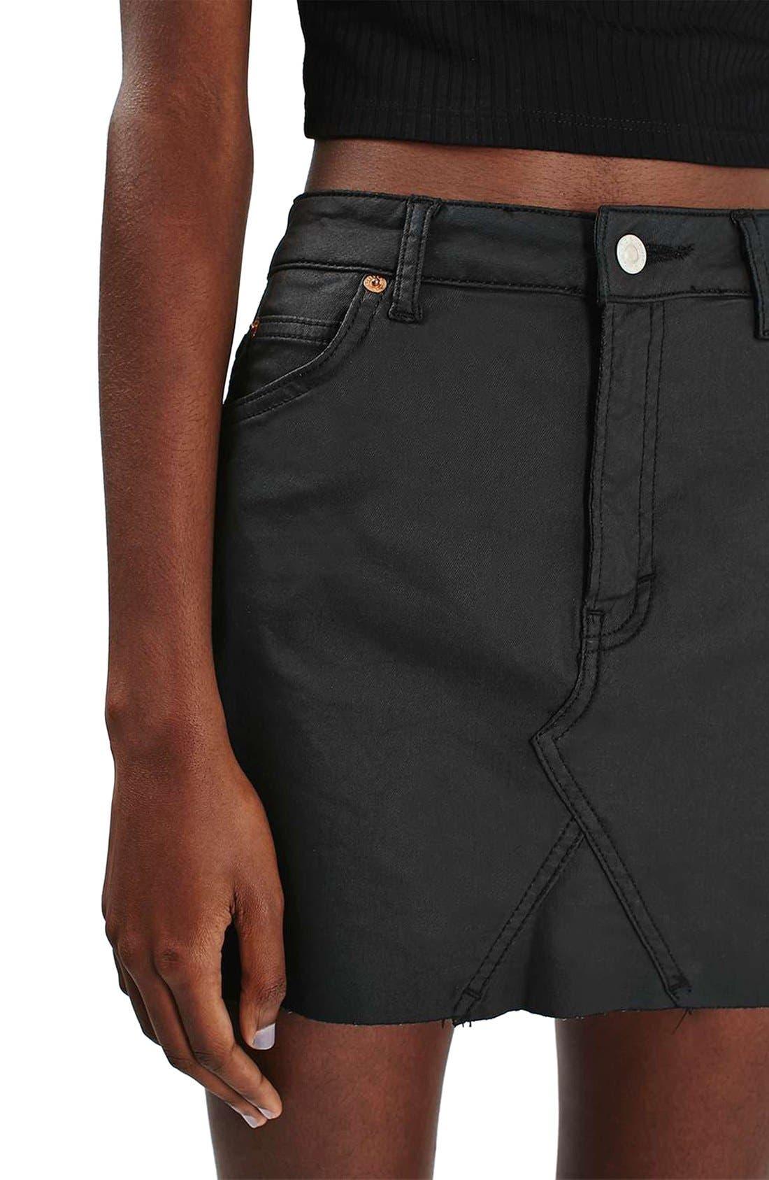 Alternate Image 5  - Topshop Coated Stretch Denim Miniskirt