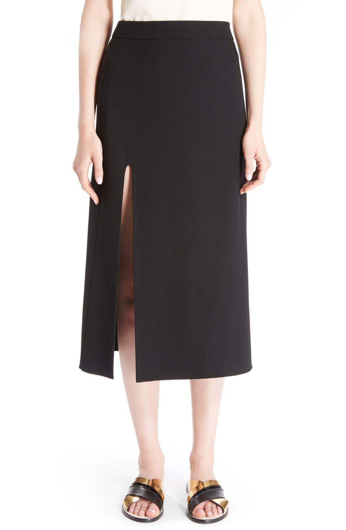 LANVIN Front Slit Wool Crepe Midi Skirt