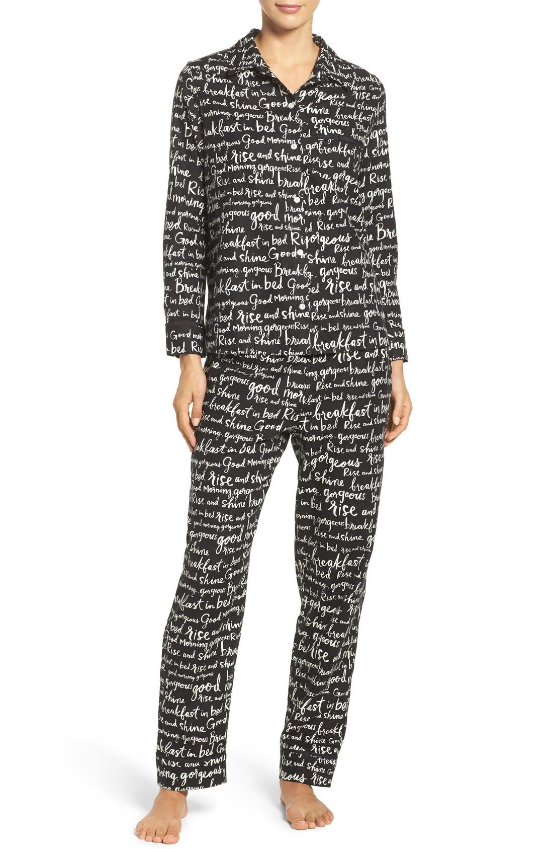 Alternate Image 1 Selected - kate spade new york flannel pajamas