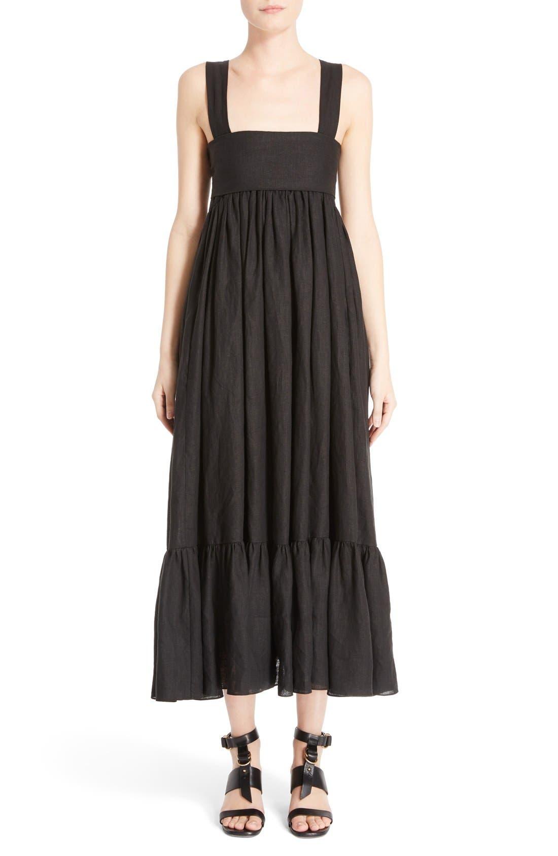 CHLOÉ Tie Back Linen Maxi Dress