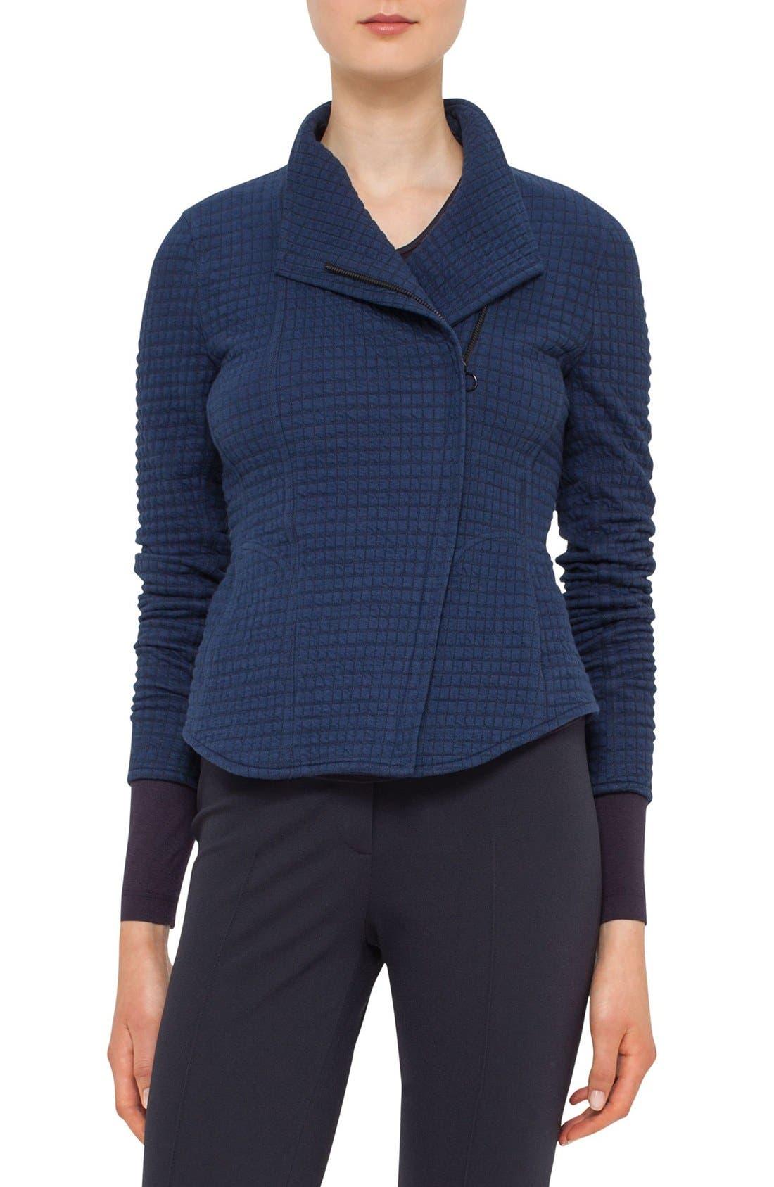 AKRIS PUNTO Asymmetrical Zip Jacquard Jersey Jacket
