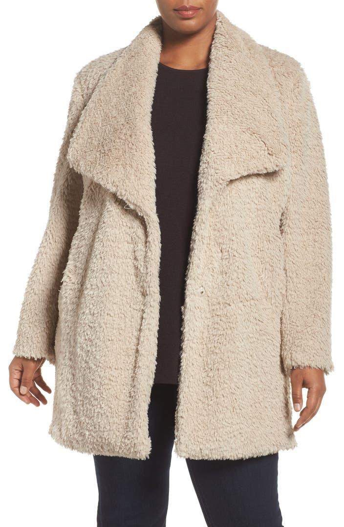 Kenneth Cole New York Faux Fur Drape Collar Coat Plus