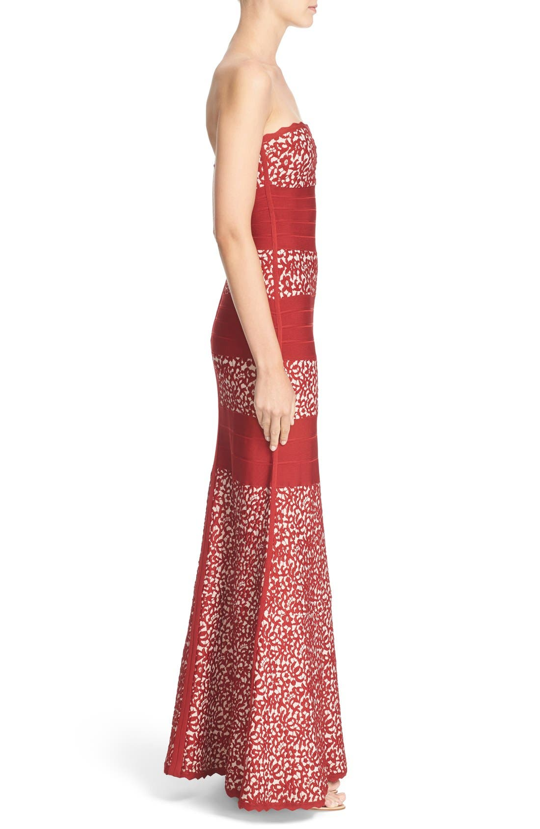 Alternate Image 4  - Herve Leger Raised Lace Detail Strapless Bandage Mermaid Gown