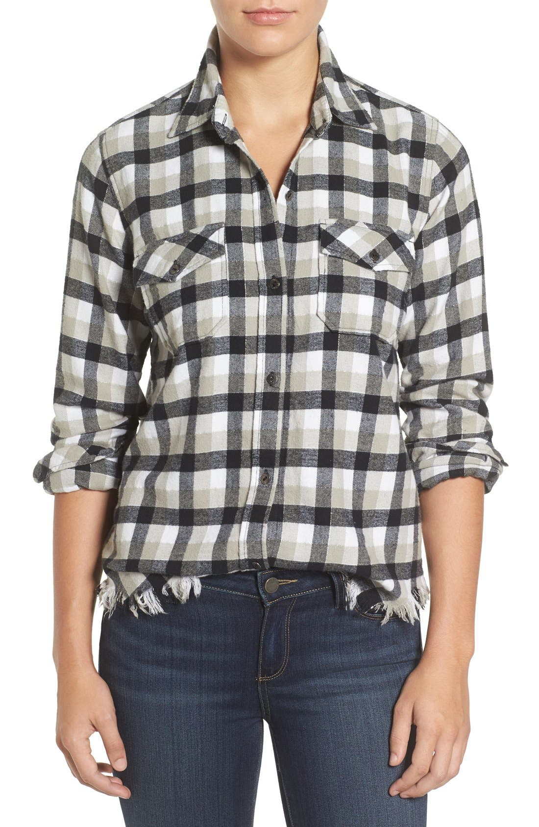 Current/Elliott Perfect Frayed Hem Plaid Shirt