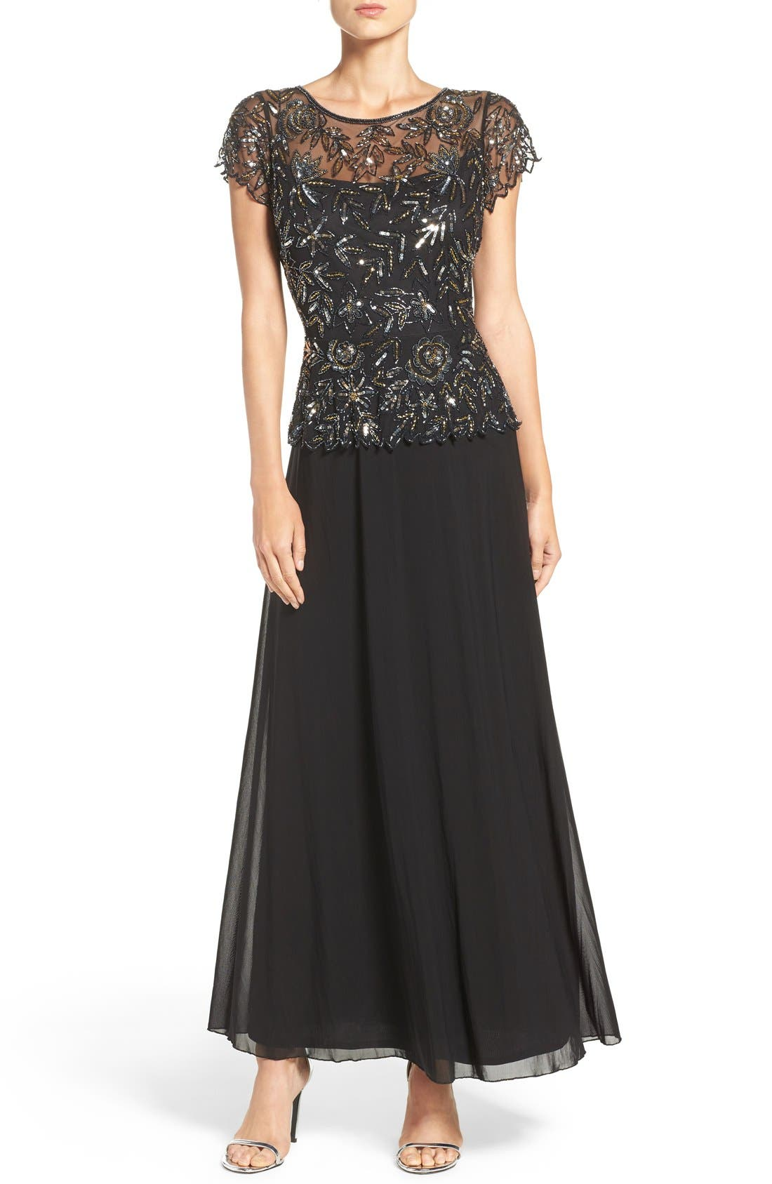 Pisarro Nights Beaded Mesh Mock Two-Piece Gown (Regular & Petite)