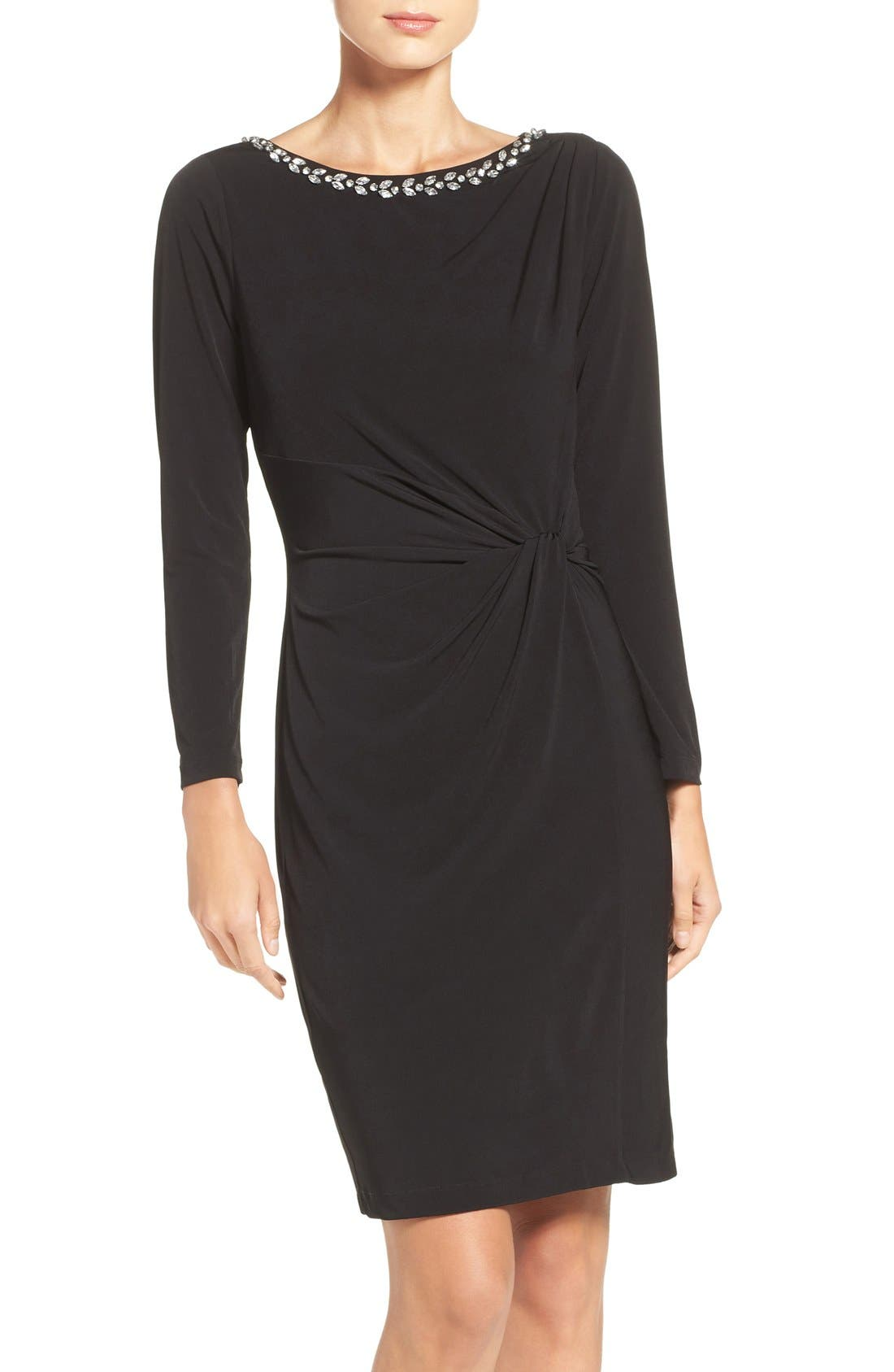 ELLEN TRACY Embellished Jersey Sheath Dress