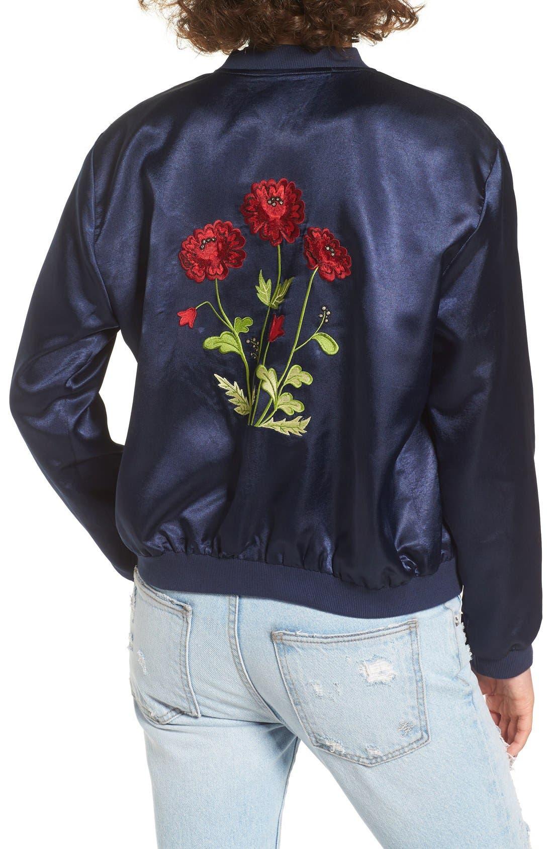 Alternate Image 2  - Tularosa Mara Embroidered Satin Bomber Jacket