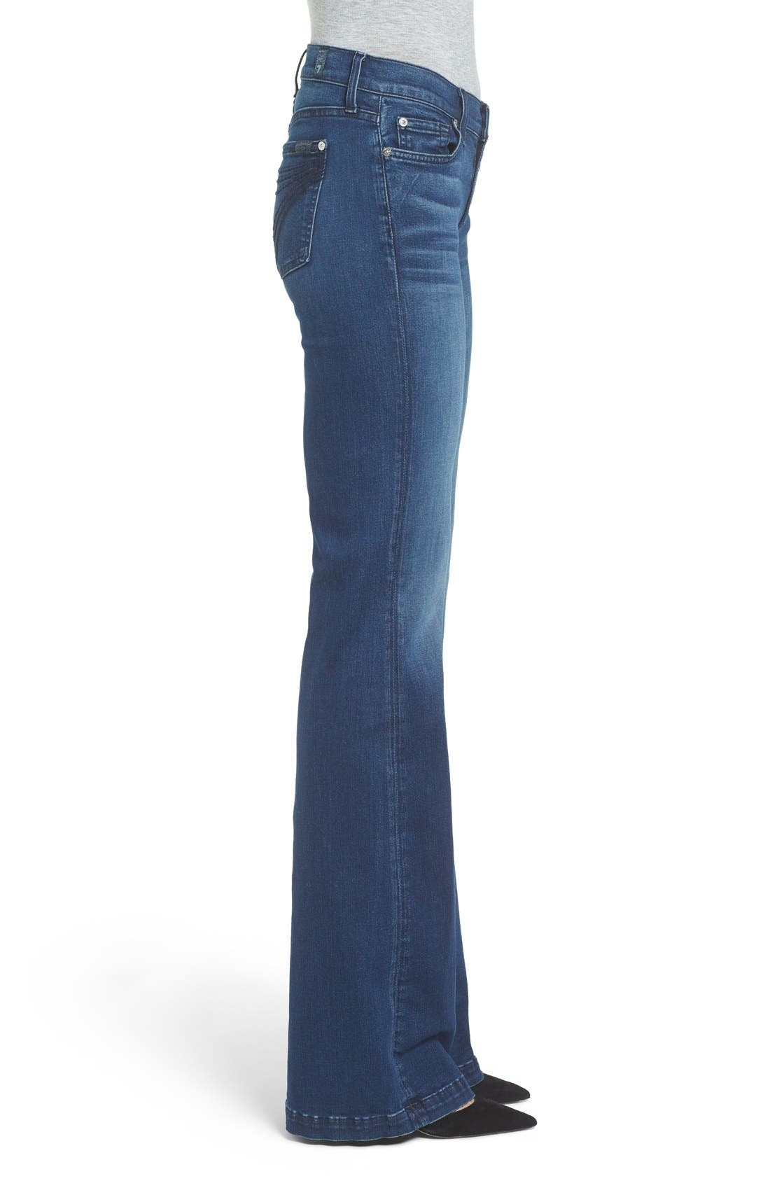 Alternate Image 3  - 7 For All Mankind Tailorless Dojo Flare Jeans (Slim Illusion Luxe Luminous)