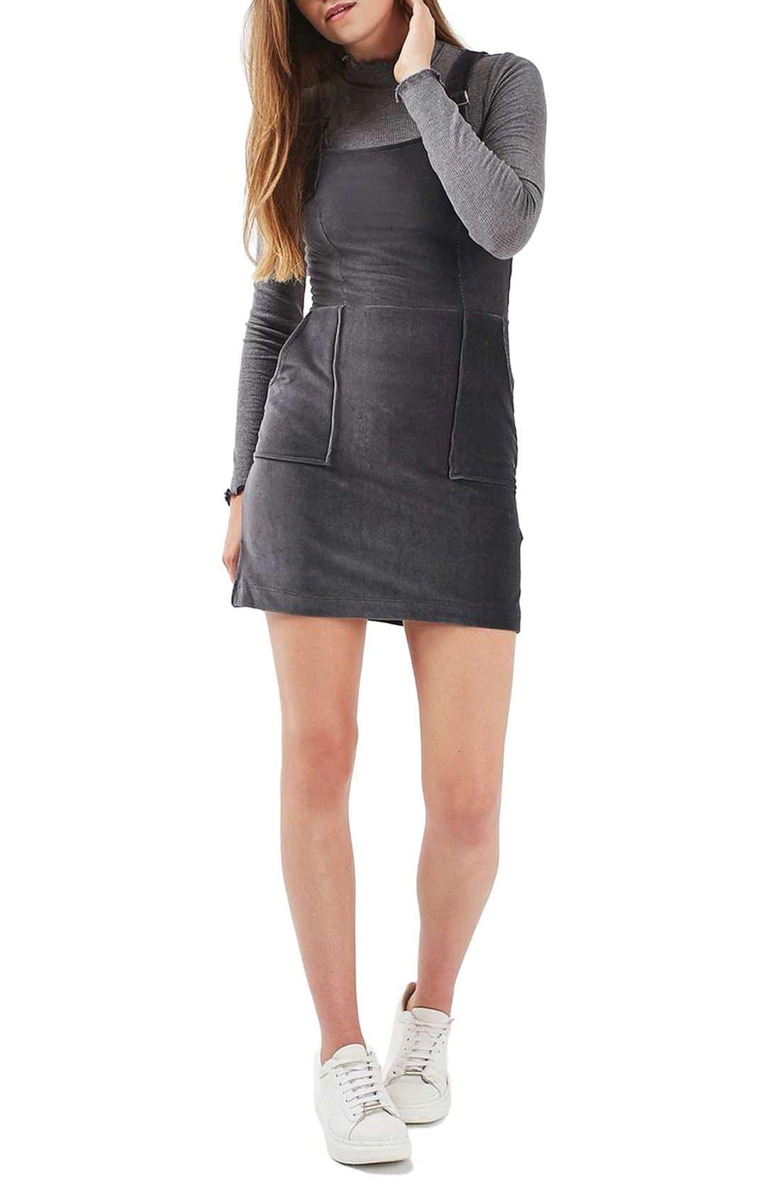 Alternate Image 2  - Topshop Corduroy Velvet Pinafore Dress
