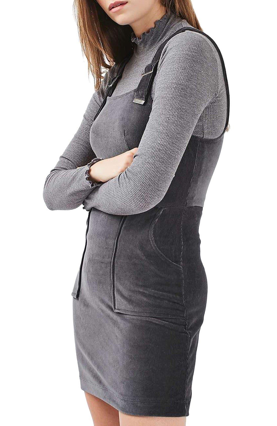 Alternate Image 1 Selected - Topshop Corduroy Velvet Pinafore Dress