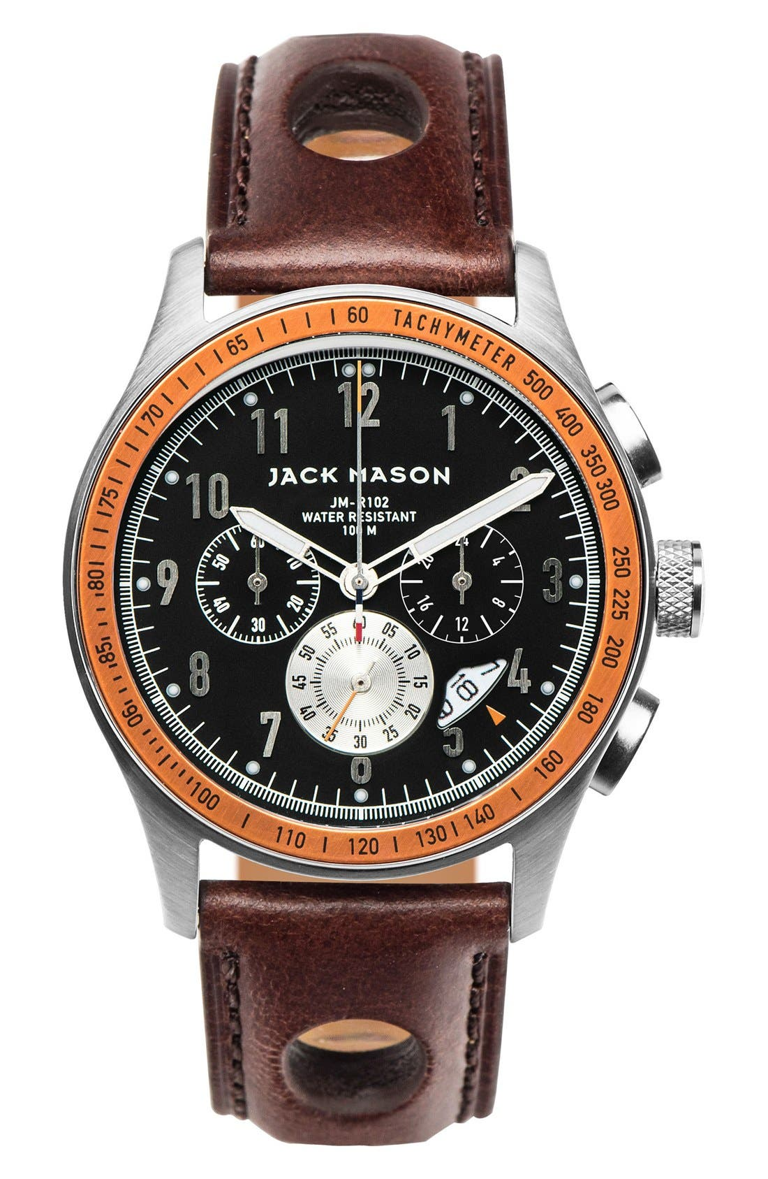 JACK MASON Racing Chronograph Leather Strap Watch, 42mm