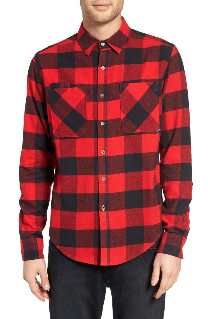 Z a k trim fit buffalo check flannel shirt nordstrom for Trim fit flannel shirts
