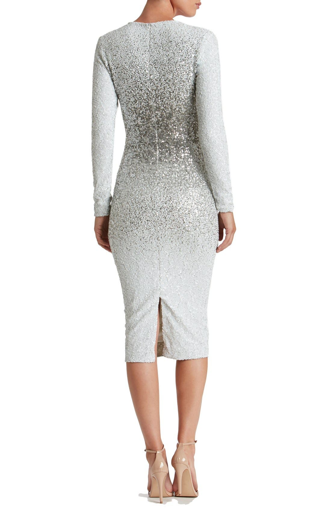 Alternate Image 3  - Dress the Population Brooke Sequin Midi Dress